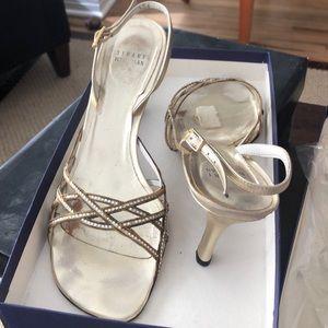 Stuart Weitzman gold Sandal heels rhinestone chain